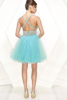 Vestido de graduacion Blusa plisada Azul Cielo Moderno Imperio Cintura Corte princesa