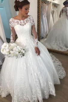 Vestido de novia Espectaculares Reloj de Arena tul Apliques Espalda con ojo de cerradura
