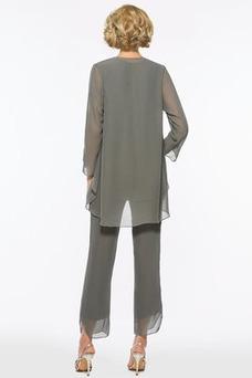Vestido de madrina Gasa Elegante Con Chaqueta Escote en V Camiseta Falta