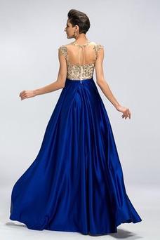 Vestido de noche Elegante Corte-A Apliques Triángulo Invertido Sin mangas