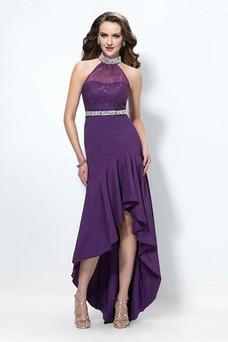 Vestido de fiesta Elegante Plisado Satén primavera Delgado Asimétrico Dobladillo