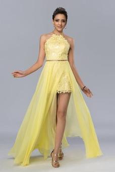 Vestido de fiesta Elegante Apertura Frontal Natural Sin mangas Encaje