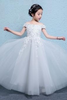Vestido niña ceremonia Corte-A Rosetón Acentuado Hasta el Tobillo Escote con Hombros caídos