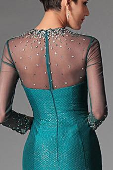 Vestido de noche Elegante Corte Sirena Escote con cuello Alto Natural