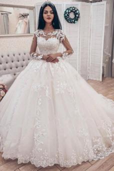 Vestido de novia Playa Encaje Joya Cola Barriba Cordón Capa de encaje