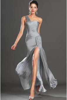 Vestido de cóctel Plata Un sólo hombro Corte Recto Plisado Cintura Baja