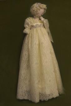 Vestido de Bautizo Imperio Cintura Joya Corte princesa primavera Abalorio