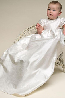 Vestido de Bautizo Satén Imperio Hasta el suelo Alto cubierto primavera