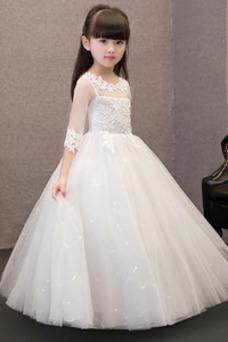 Vestido niña ceremonia Capa de encaje tul Corte-A Cremallera Bordado Falta