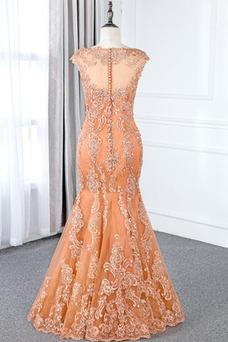 Vestido de madrina Satén Corte Sirena Natural largo Apliques Tiras anchas
