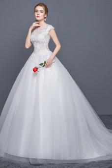 Vestido de novia Elegante Manga corta Verano Barco Cola Capilla Natural