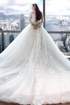 Vestido de novia Elegante Escote con Hombros caídos Capa de encaje Camiseta