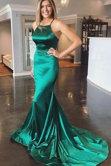 Vestido de fiesta Corte Sirena Satén Elástico Natural Triángulo Invertido