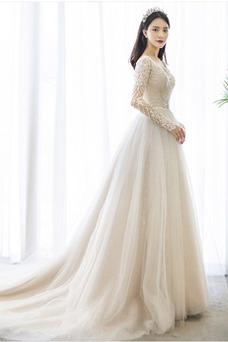 Vestido de novia Manga larga Baja escote en V Natural Invierno Mangas Illusion