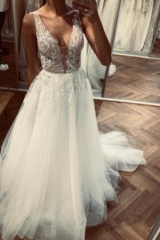 Vestido de novia Sin mangas Moderno largo Triángulo Invertido tul Fuera de casa