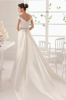 Vestido de novia Manga tapada Falta Manga corta Corte-A Natural Otoño