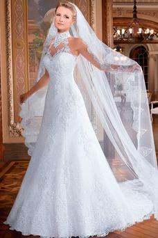 Vestido de novia Corte-A tul Cremallera Clasicos Otoño Con velo