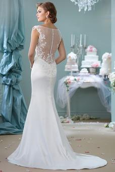 Vestido de novia Natural Pura espalda Satén Elástico Barco Manga corta