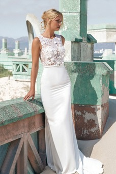 Vestido de novia Corte Sirena Botón Cremallera Encaje Natural Cola Capilla