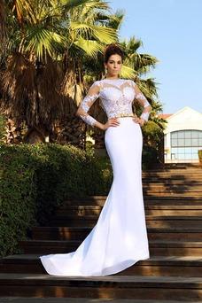 Vestido de novia Joya Fuera de casa Verano Mangas Illusion largo Satén Elástico