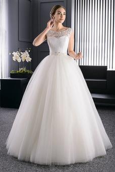 Vestido de novia Verano Barco Perlas Cordón Sala Formal