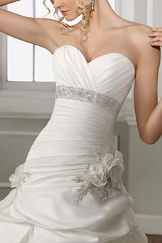 Vestido de novia Iglesia Formal Satén Flores Sin mangas largo