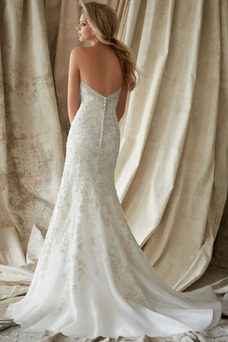 Vestido de novia Corte Sirena Espalda Descubierta Organza Cristal Espectaculares