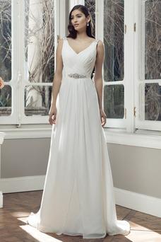 Vestido de novia Cola Barriba Natural Fajas Gasa Verano Escote en V