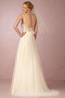 Vestido de novia Encaje Corte-A Cremallera Natural Cola Barriba Transparente