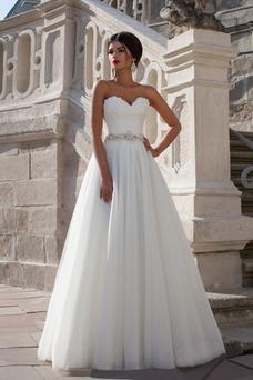 Vestido de novia Elegante Sin mangas Apliques Corte-A Natural Escote Corazón