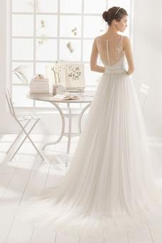 Vestido de novia Alto cubierto Encaje Apliques largo sexy Barco