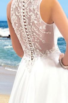 Vestido de novia Romántico Sin mangas Corte-A Volantes Adorno Cinturón de cuentas