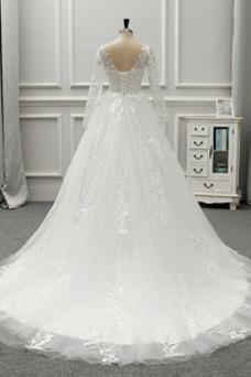 Vestido de novia Manga larga Otoño Corte-A Espalda Descubierta Mangas Illusion