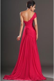 Vestido de noche rojos cereza Gasa Delgado largo Escote Asimètrico