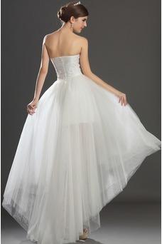 Vestido de novia Escote Corazón Apertura Frontal Asimétrico Dobladillo