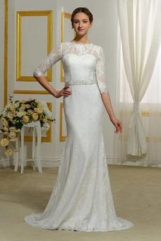 Vestido de novia Lazos Cola Barriba Natural Barco Corte Recto Tallas pequeñas