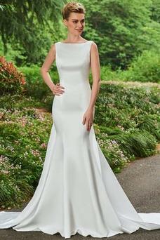 Vestido de novia Espalda medio descubierto Arco Acentuado Cola Capilla