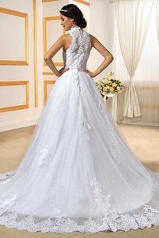 Vestido de novia Satén primavera Cola Capilla Triángulo Invertido Lazos