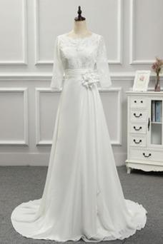 Vestido de novia Pura espalda Corte-A largo Sala Joya Manga de longitud 3/4