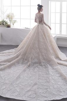 Vestido de novia Manga larga Natural Cremallera Escote redondo Formal