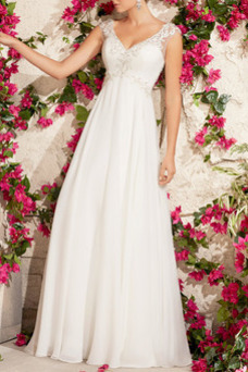 Vestido de novia Escote en V Reloj de Arena Moderno Hasta el suelo Imperio