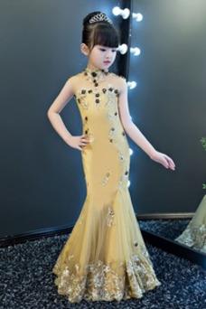 Vestido niña ceremonia Cola Barriba Sin mangas Cintura Baja Escote con cuello Alto
