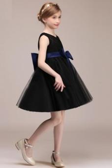 Vestido niña ceremonia Sin mangas Arco Acentuado Espalda con ojo de cerradura