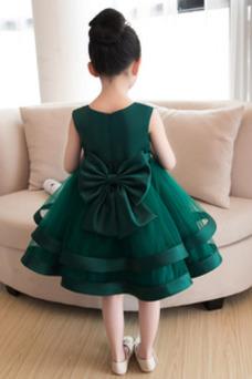 Vestido niña ceremonia Arco Acentuado Falta Cremallera Flores Natural Satén