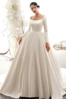Vestido de novia Sencillo Satén Corte-A Fuera de casa Invierno Escote redondo