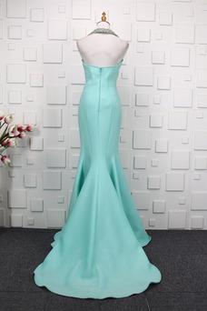 Vestido de fiesta Alto Bajo Satén Natural Queen Anne Drapeado Asimétrico Dobladillo