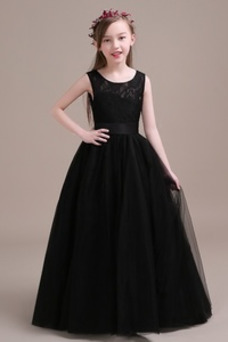 Vestido niña ceremonia Falta Sin mangas Verano Corte-A Natural Encaje