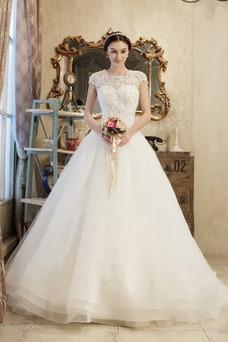 Vestido de novia Elegante Manga tapada Corpiño Acentuado con Perla Manga corta