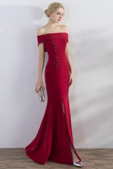 Vestido de noche Elegante Falta Camiseta Flores Satén Cordón