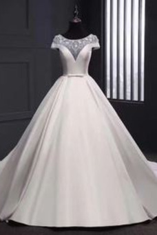 Vestido de novia Formal Cremallera primavera Lazos Manga tapada Corte-A